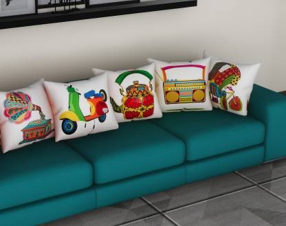 Metro Living Printed Cushions Cover  (Pack of 5, 40 cm*40 cm, White)